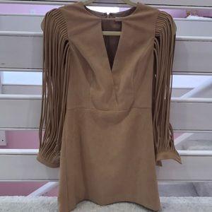 Halston Heritage tan suede dress cutout sleeves